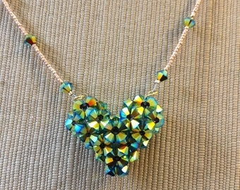 Blue Green Heart Necklace