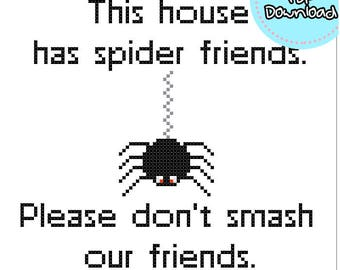 Spider Friends Cross Stitch Pattern PDF Embroidery Needlepoint Hoop Art