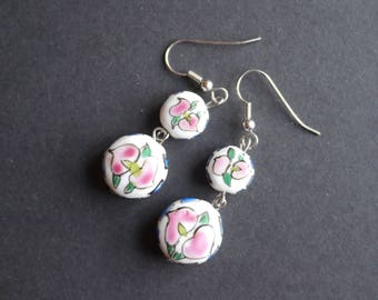 White porcelain bead earrings with hand painted pink flowers for pierced ears