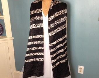 Black scarf, long scarf, silky scarf,