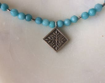 Great blue Amazonite necklace with Hill Tribe silver charm