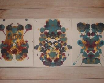 Original Inkblot Art (Set of 3), Multicolored Inkblots, Psychology Art, Therapy Art, Therapy Office Art, Conversation Art