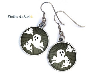 Theme ghosts, metal, resin, surgical steel hooks, ref.17 cabochon earrings