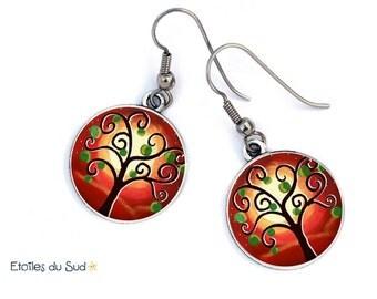 bijoux d'oreilles l'arbre de vie, rouges, cadeau noël, acier chirurgical ,ref.146