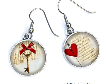 Earrings Valentine's day, Valentine's day, red heart and key, surgical steel hooks, ref.305