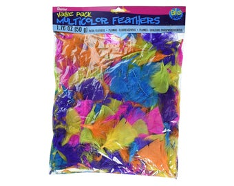 All Purpose Neon Feathers, 50 gram Value Bag, Multi-colored Selection