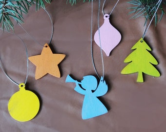 set of 5 Wooden Christmas ornaments. Christmas decoration. Christmas gift. hand painting