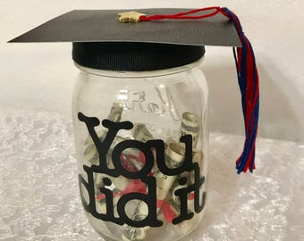 Graduation Gift - Mason Jar - Custom Personalized- Diploma Money - Graduation Hat