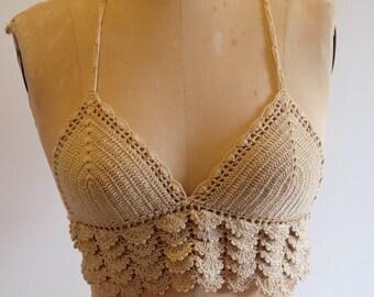 Cotton crocheted halter top 1970s