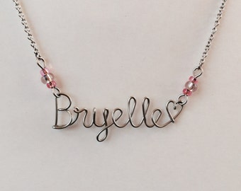 Wire Name Necklace - Custom Wire Name Necklace- Personalized Necklace - Stainless Steel Jewelry -  Free domestic shipping