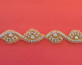 """Crystal Rhinestone Trim by the Yard-Wholesale Silver or gold Bridal Trim- rhinestone banding- 1 1/4"""" Crystal Trim -Rhinestone Applique"""
