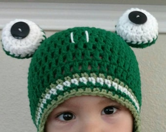 Frog Hat-Boys Green Froggy Hat-Calebs Frog Hat-Caleb and Sophia