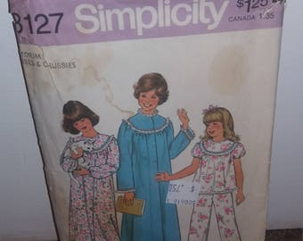 Vintage 1970's Simplicity 8127 Girls and Chubbies Pattern Size Medium