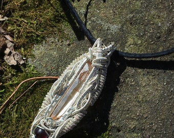 Tangerine quartz and garnet .925 sterling silver wire wrap pendant