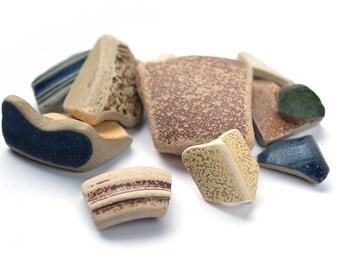 STONEWARE SEAPOTTERY MIX earth tone and glazed sea pottery, sunshine yellow, green, blue, irregular shapes, craft supplies coastal art decor