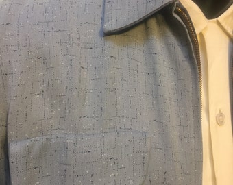 "Reversible Men's 1950's ""Rickey"" Jacket; patterned flecked salt and pepper Gabardeen"