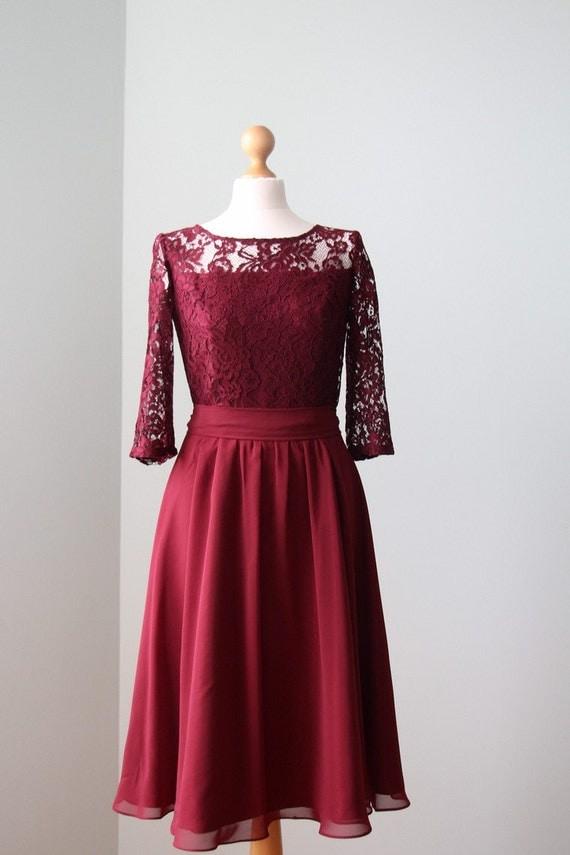 Short burgundy lace dress Short bridesmaid dress Short burgundy bridesmaid dress Burgundy dress Marsala bridesmaid