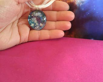 Handmade Galaxy Ribbon Necklace Glow in the Dark