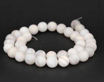 Matte White Agate Gemstone Round Loose beads 6/8/10/12mm