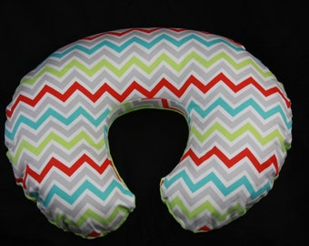 Boppy Pillow Cover - Multicolored Zig Zag with Minky underside