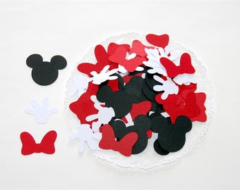 100 Confetti MICKEY and MINNIE : Black Mickey Head, Red Minnie Knot and White Gloves