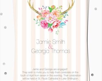 Engagement Invitations - Sweetly Boho - DIGITAL