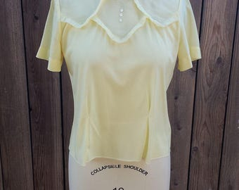 Vintage Yellow Blouse with Ruffle Detail