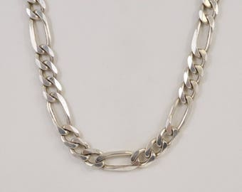 Sterling Silver 925 Estate Figaro Chain/necklace 24.25'' Long(00956)