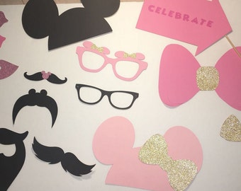 Minnie Mouse Photo Booth- Minnie Mouse Gold and Pink Photo Props