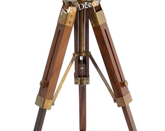 Antique Vintage Style Brass Functional Telescope w Wooden Tripod Home Office Nautical Decor,FREE SHIPPING