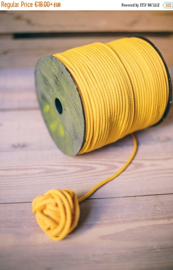 Yellow yarn- polyester cord- crochet cord- crochet yarn- macrame yarn- macrame cord- crochet cord 218/328 yards or 200/300 meters