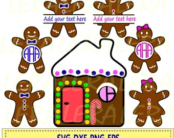 60 % OFF, Christmas Gingerbread SVG, Christmas Monogram, Gingerbread Clipart, Gingerbread Cookies Svg, Dxf,Png, Eps Files, Silhouette studio