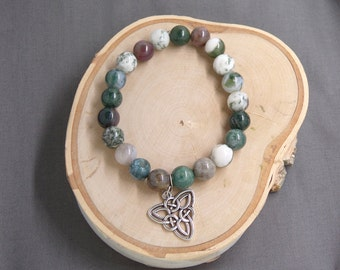 B1242 Multi colored Stone Bracelet with Celtic Charm.