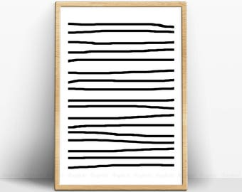 Brush Stripes Poster, Abstract Minimalist Art, Simple Home Print, Modern Black White Printable, Instant Download Prints, Ink Lines Artwork.