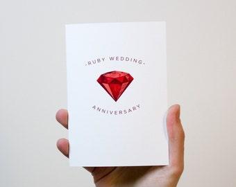 Ruby Wedding Anniversary Card | 40 Year Wedding Anniversary Card | 40th Wedding Anniversary Card