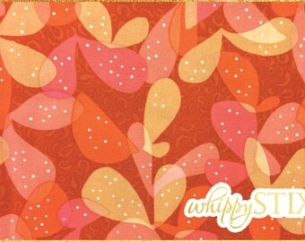 Abstract Floral Fabric By the Yard, Orange Pink Desert Bloom by Jane Dixon Andover Fabrics 5242, BTY Modern Flowers with Polka Dots Swirls