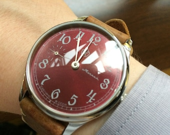 Molnija wrist watch, converted marriage soviet molnija 3602, art deco watch, mens watch