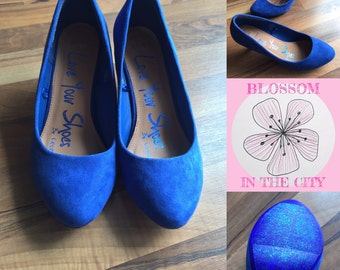 Blue Suede Court Shoe with Glitter Sole