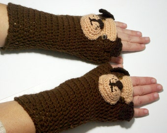"50% OFF Crochet Gloves: ""ANIMAL GLOVES"" Fingerless Gloves Brown Dog Gloves Hand Warmers Hand Knit Brown Dog Mittens Winter accessory A161"