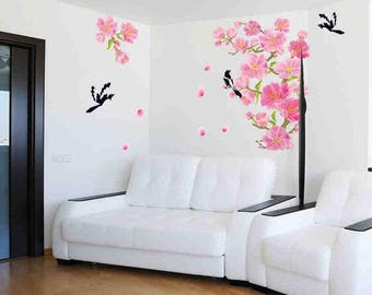 Cherry Blossom Wall Decal, Decals for walls, Tree Wall Decal, Wall decal for Living Room, Wall Stickers, Home Décor, 3D Wall Decal