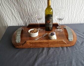 Wine Barrel Serving Tray Platter Solid Oak Barrel Ring