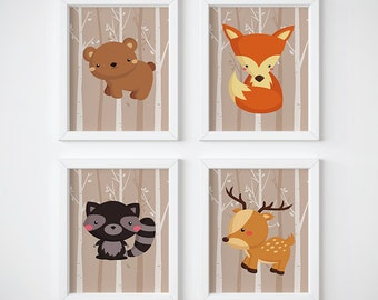 Woodland Animals Nursery Art, Kid's Room, Baby Room, Bear Nursery, Fox nursery, Raccoon, Deer, Baby Shower Gift, Set of Four Nursery Prints