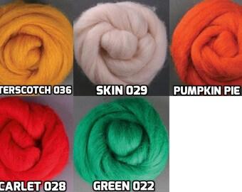 Corriedale Wool Roving, 1 oz ea, 5 Color Set: Butter Scotch, Scarlet, Green, Skin, Pumpkin Pie. Top, Sliver, Fiber, Needle/Wet Felting, Spin