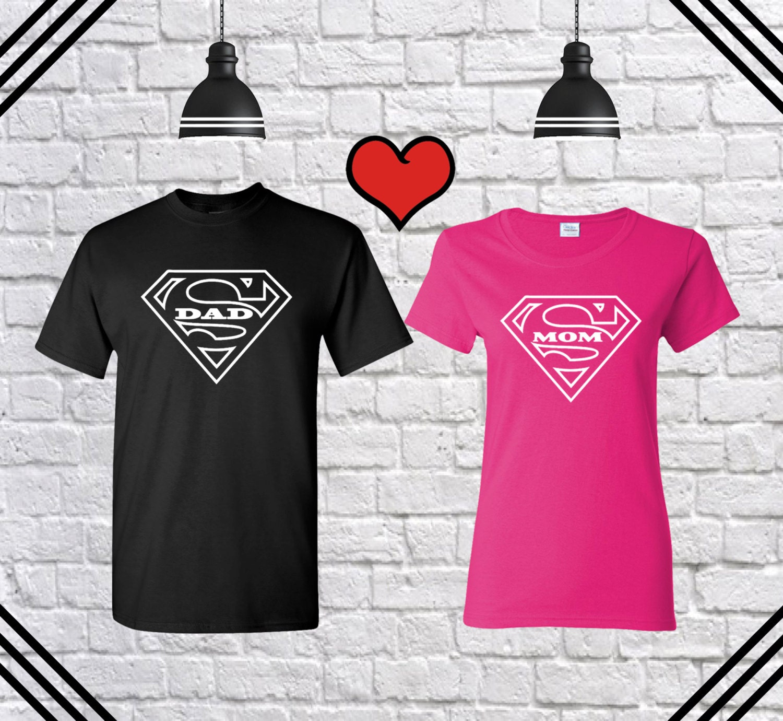 Super Dad Super Mom Couple T Shirt Dad Mom T Shirt Dad Shirt