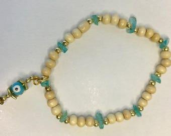 Apatite wood bead bracelet