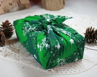 Small Furoshiki glittery - 50 cm X 50 cm - glitter trees