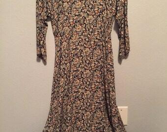 Vintage rabbit floral long sleeve dress