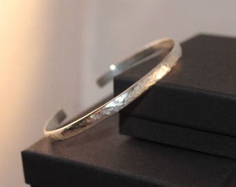 Stunningly Simple Hammered Finish Sterling Silver Cuff Torque Bangle