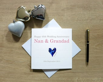 Personalised Sapphire (45th) Anniversary Card - Forty-fifth Anniversary - Cute Anniversary Card - Cards For Husband/Wife - Cards For Couple