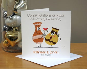Personalised Pottery (8th) Cartoon Anniversary Card - Funny/Cute Anniversary Card - Cards For Husband/Wife - Cards For Couple